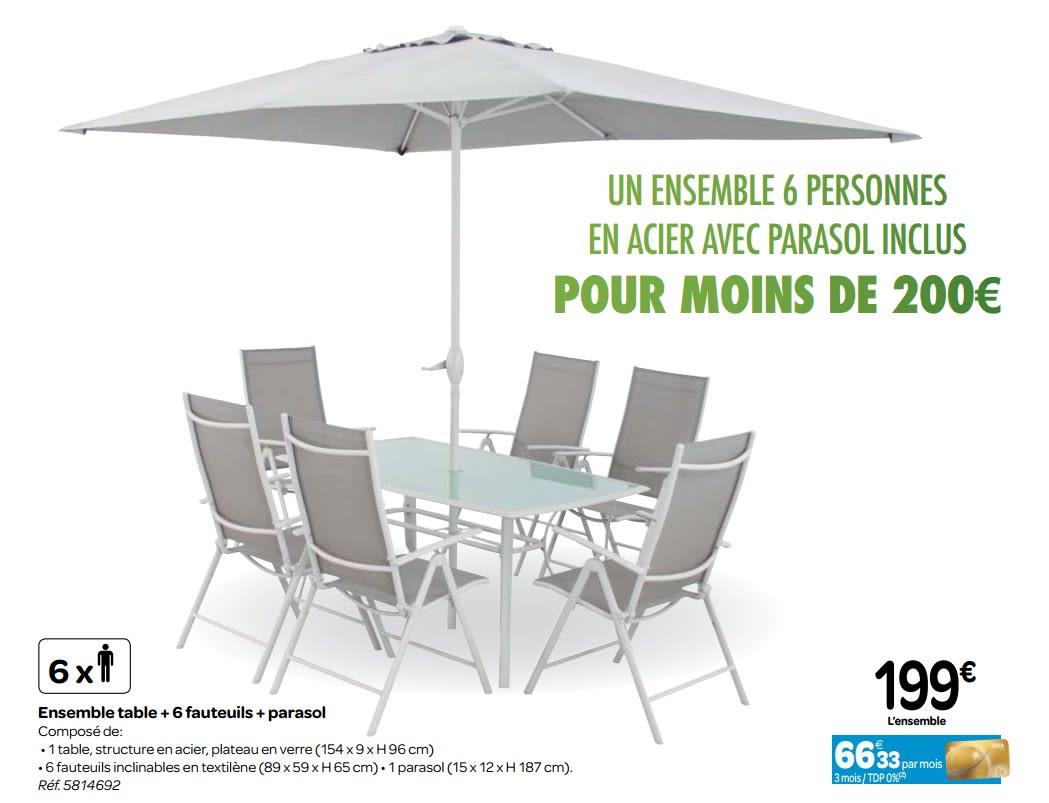 Promotion Carrefour: Ensemble Table + 6 Fauteuils + Parasol ... intérieur Table Et Chaise De Jardin Carrefour