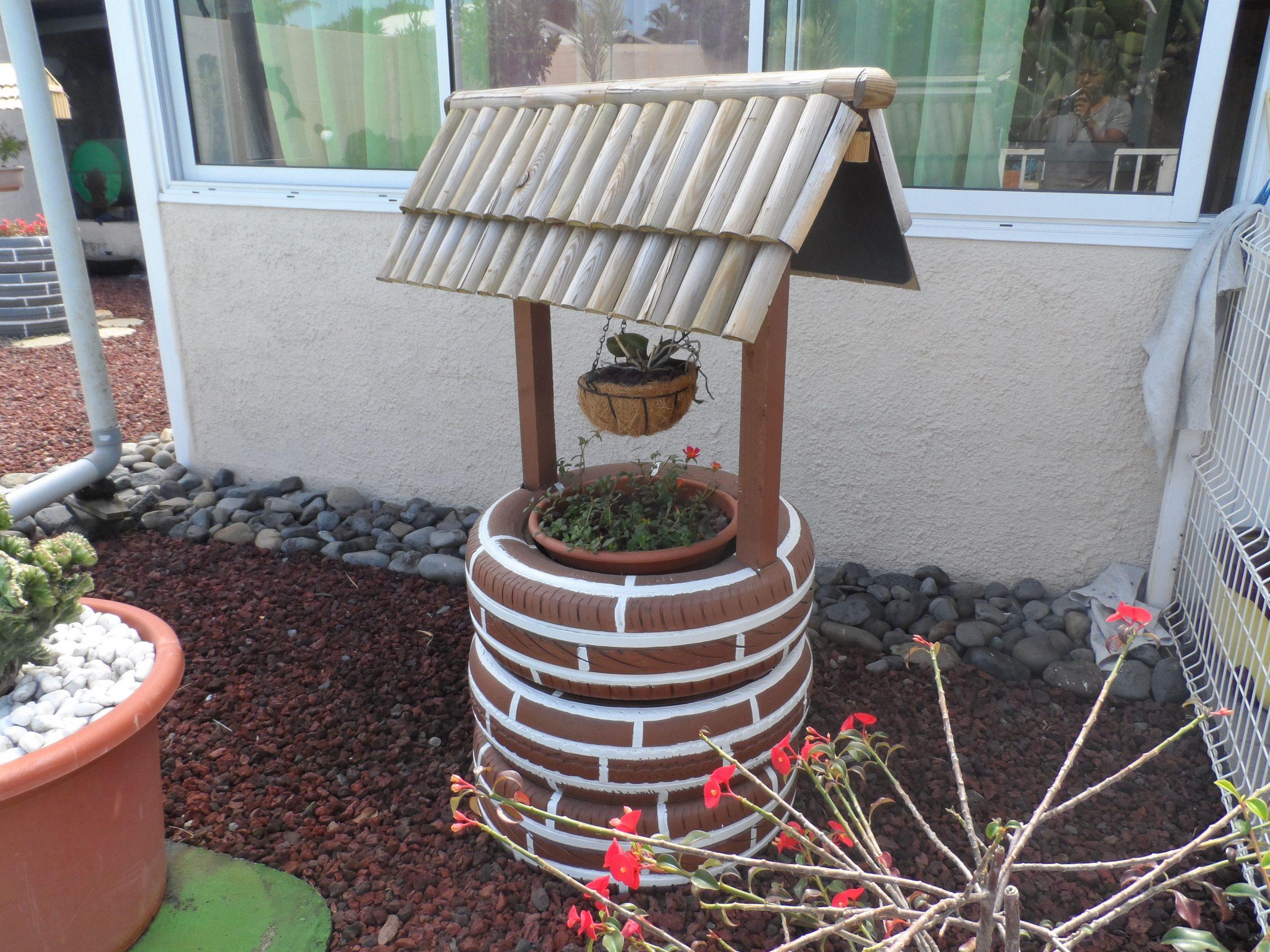 Puits En Pneu   Recycler, Pneu, Puits tout Puit Decoratif Jardin