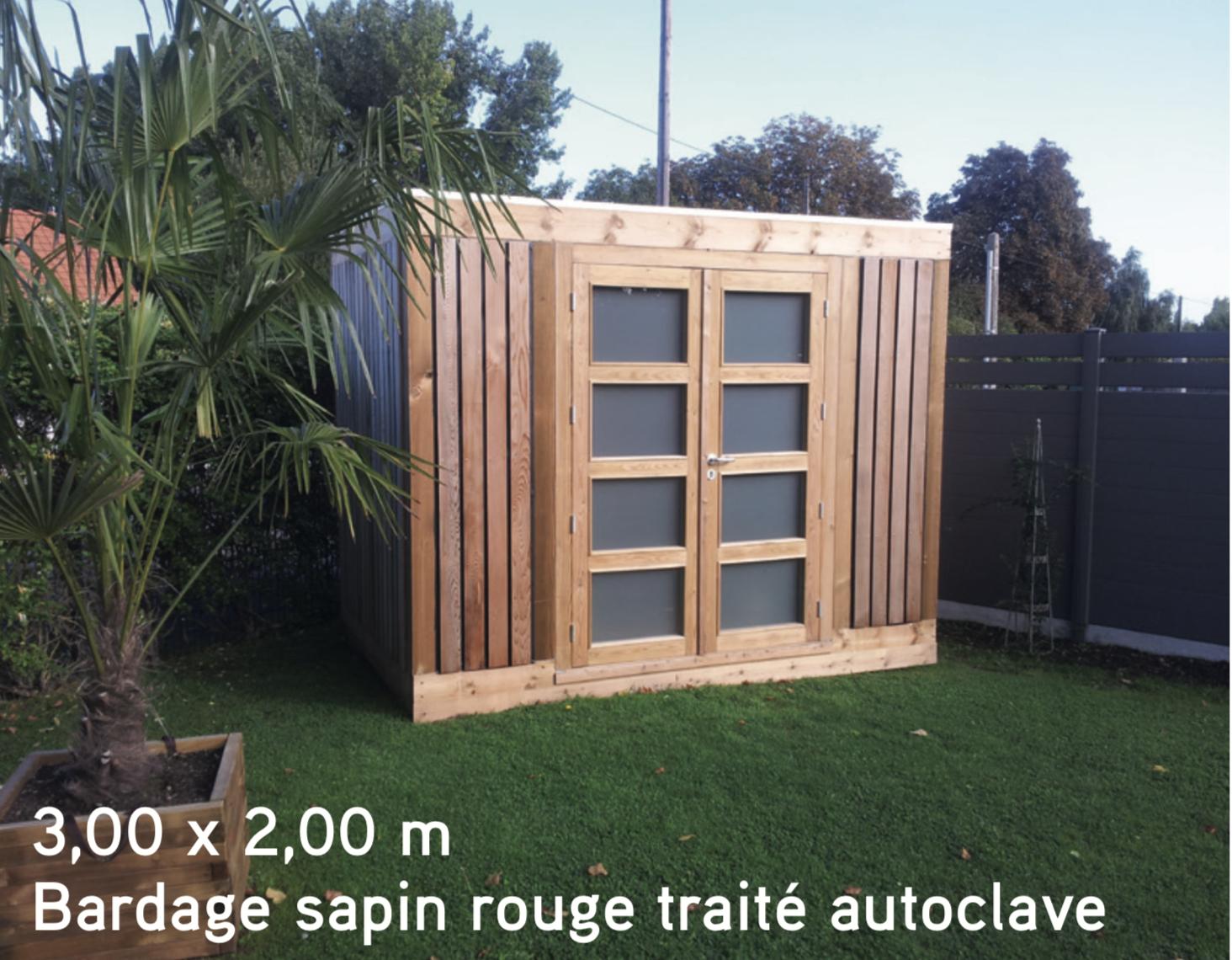 Quadro 3,00 X 2,00 M Bardage Sapin Rouge Traité Autoclave ... intérieur Abris De Jardin Bois Autoclave