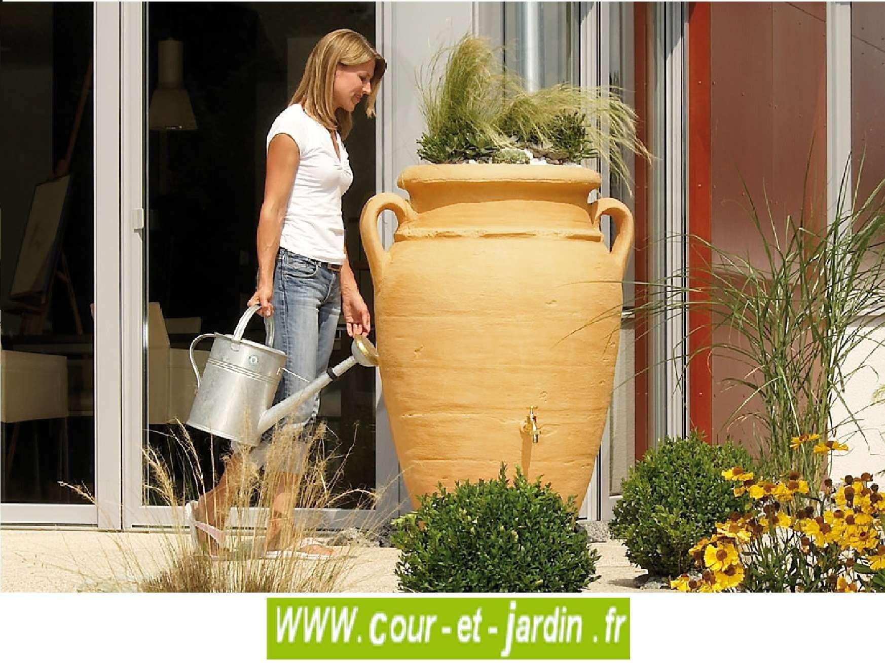 Récupérateur D'eau Amphore Antik 360L, Sable - Cour Et Jardin dedans Amphore De Jardin