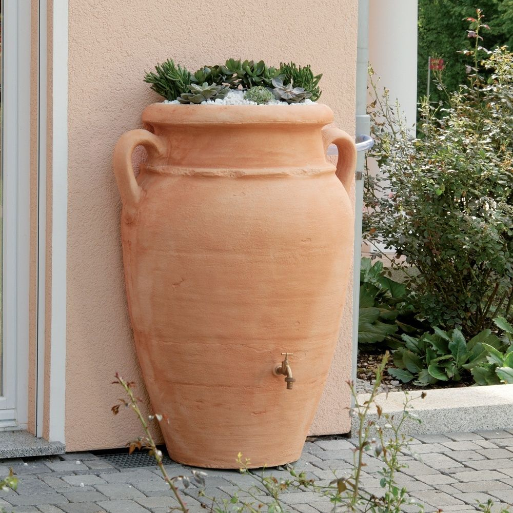 Récupérateur D'eau Mural Garantia Amphore Antik 260 L Terracotta intérieur Amphore De Jardin