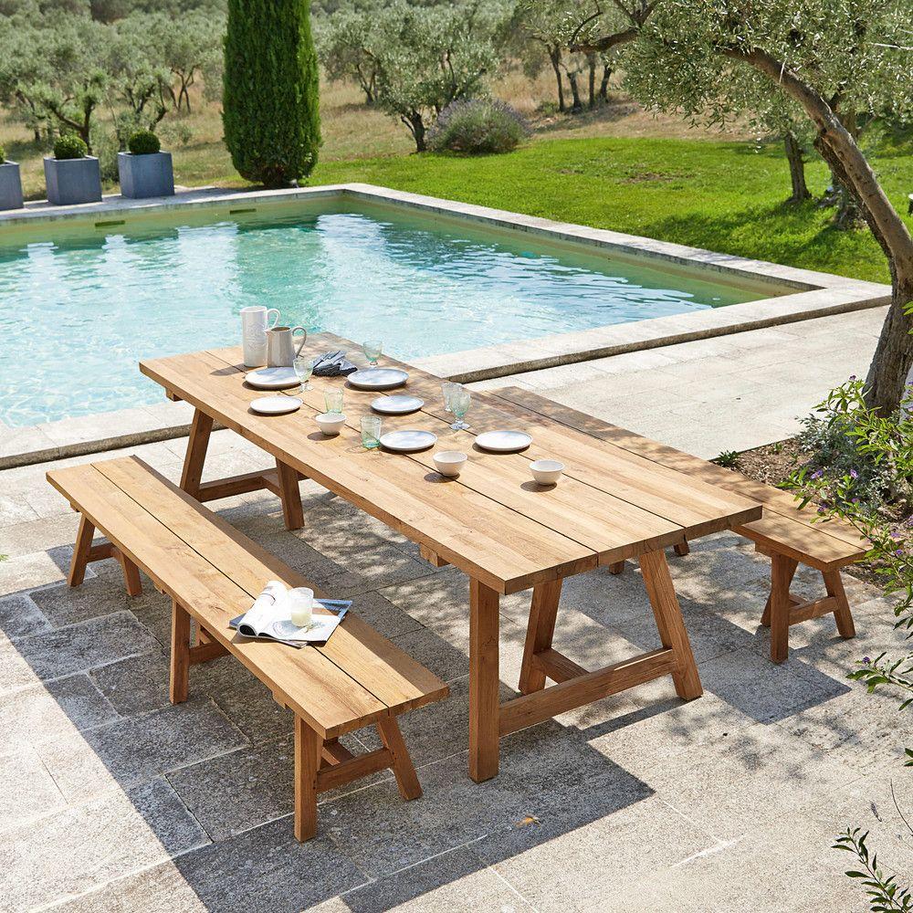 Recycled Teakholz Garden Bench L300   Garden Table, Outdoor ... pour Table De Jardin Maison Du Monde