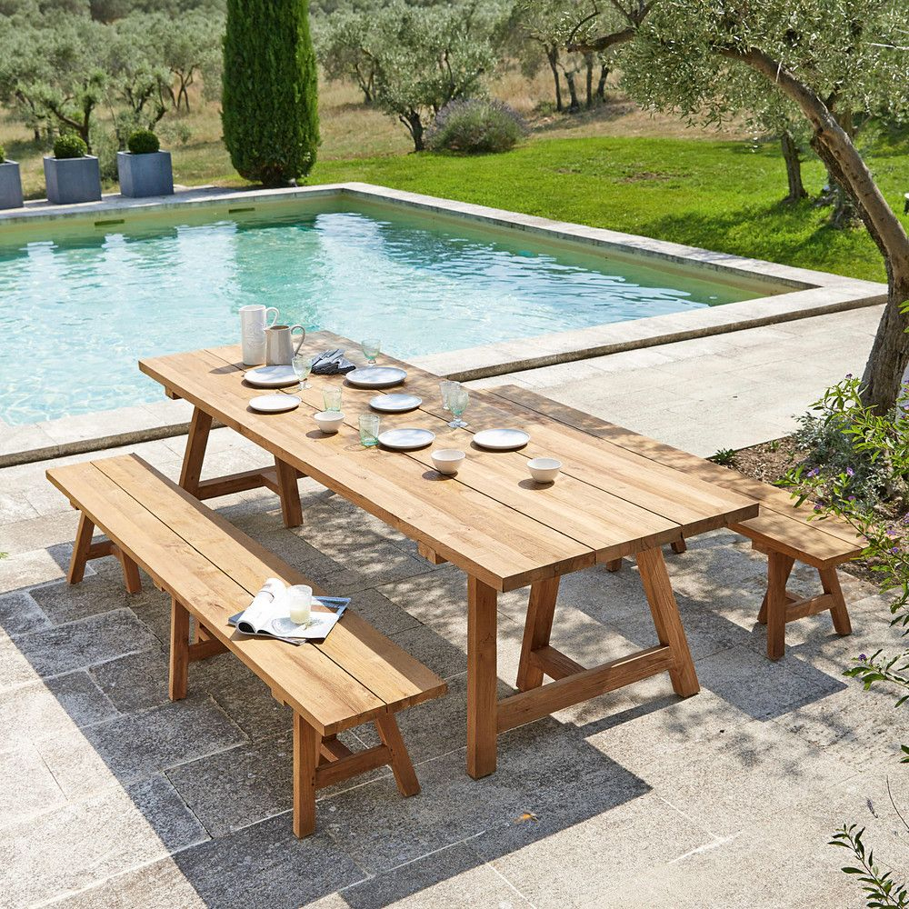 Recycled Teakholz Garden Bench L300 | Garden Table, Outdoor ... tout Maison Du Monde Table De Jardin