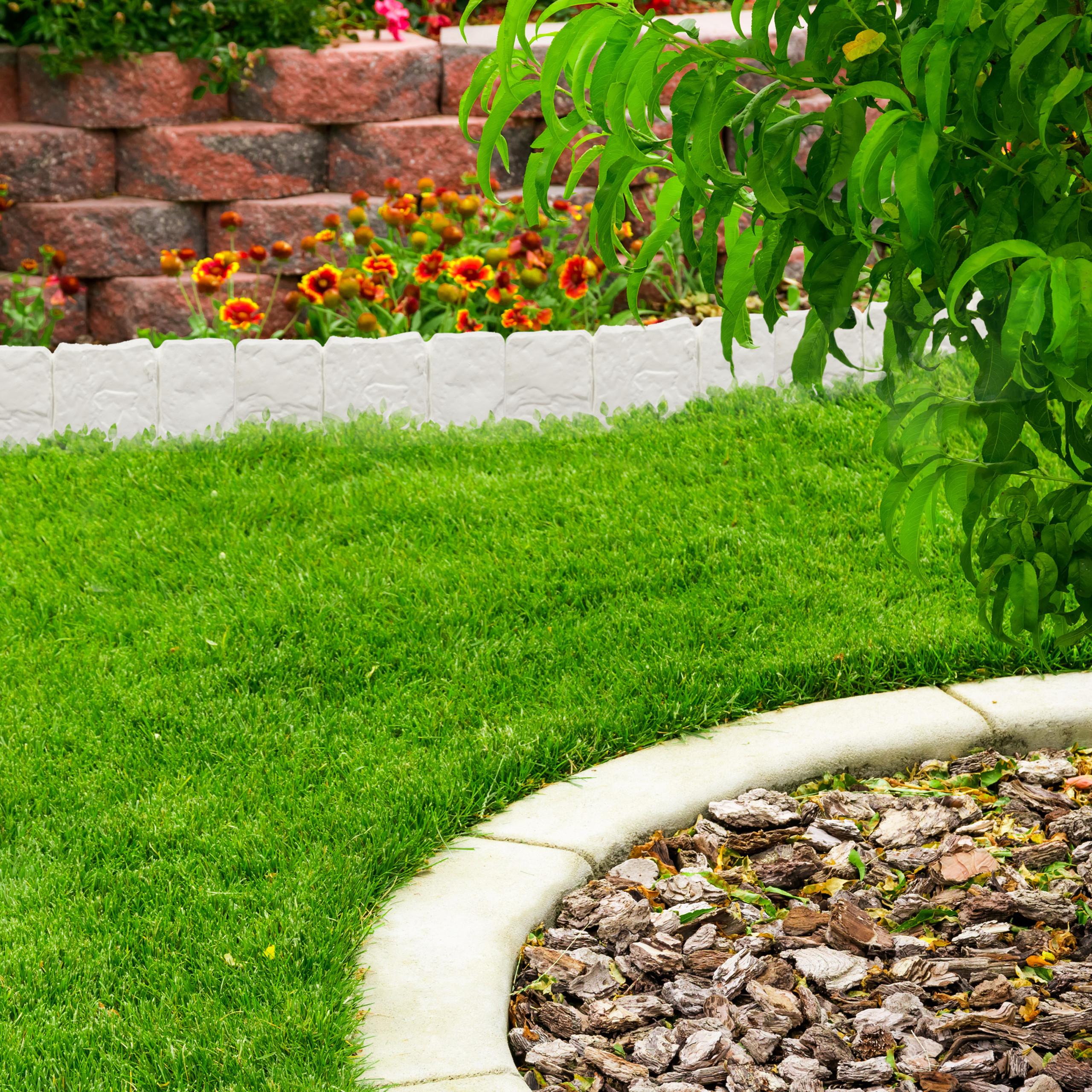 Relaxdays Bordure De Jardin Clôture Gazon 10 Éléments ... intérieur Bordure De Jardin En Pierre