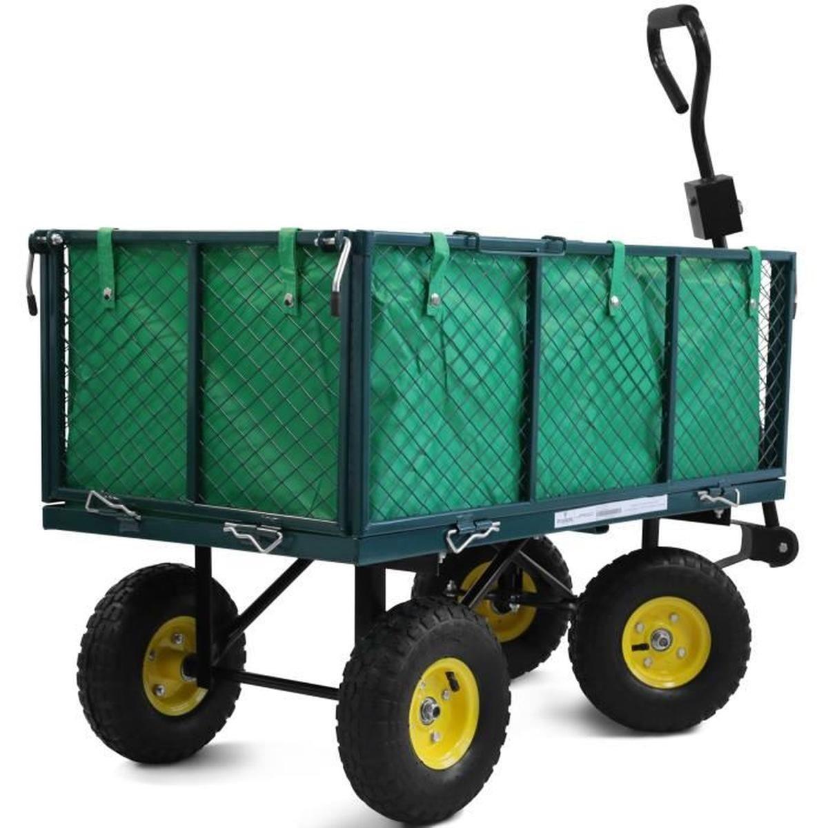 Remorque À Main Avec 4 Roues Bricolage Chariot De Transport ... destiné Charrette De Jardin
