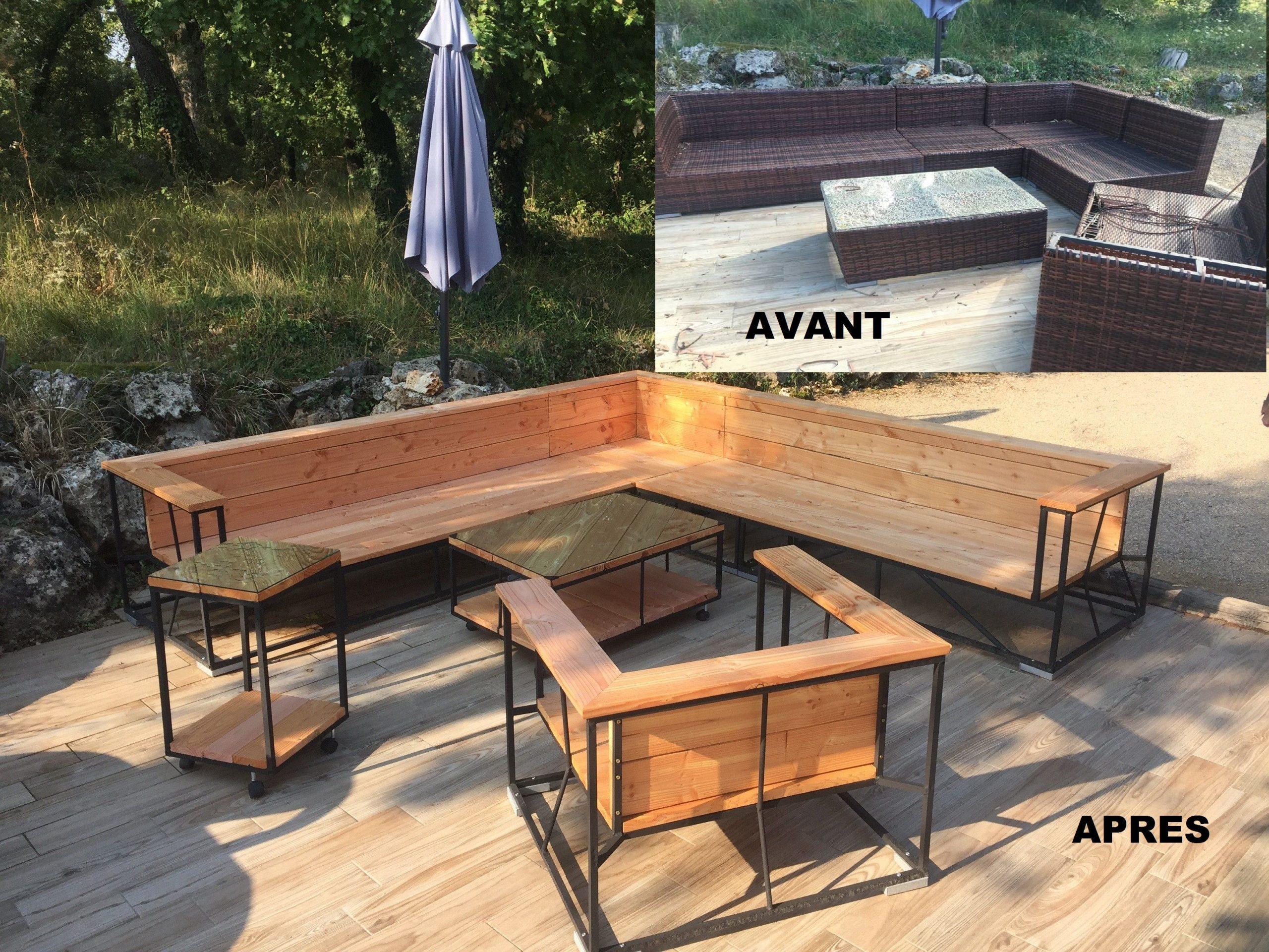 Rénovation Salon De Jardin Résine En Bois Douglas Lames De ... pour Plan Pour Fabriquer Une Table De Jardin En Bois
