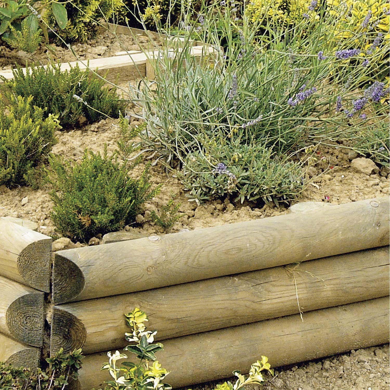 Retenue De Terre À Planter Sauvage Bois Naturel, H.60 X L ... pour Bordure Jardin Demi Rondin Bois