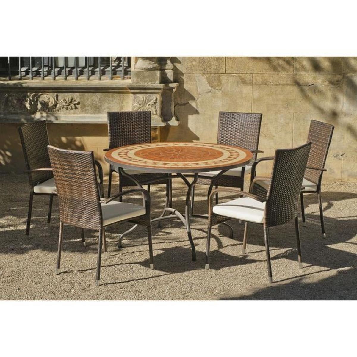 Rio - Ensemble Table Et 6 Fauteuils Marron - Achat / Vente ... à Cdiscount Mobilier De Jardin