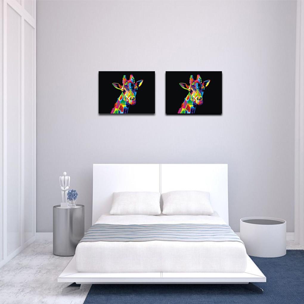 Roman 40X30 Cm Boyama Tuval Duvar Resimleri Çerçevesiz Soyut Hayvan Zürafa  Sanat Renkli Zürafa Yağlıboya avec Bache Protection Salon De Jardin
