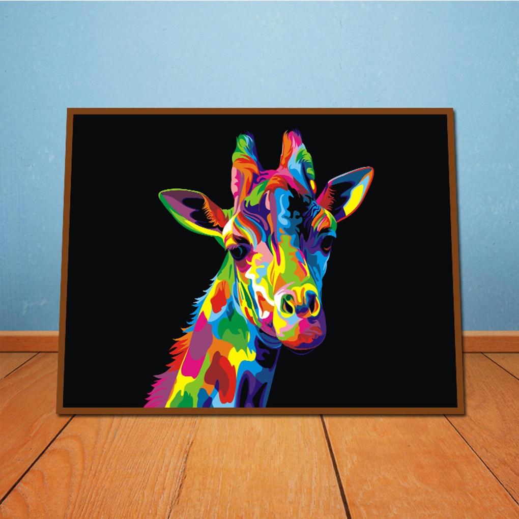 Roman 40X30 Cm Boyama Tuval Duvar Resimleri Çerçevesiz Soyut Hayvan Zürafa  Sanat Renkli Zürafa Yağlıboya concernant Bache Protection Salon De Jardin