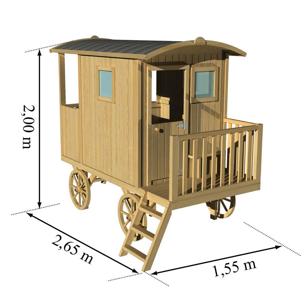 Roulotte Enfant Bois Sur Pilotis Carry destiné Maison De Jardin Pour Enfants