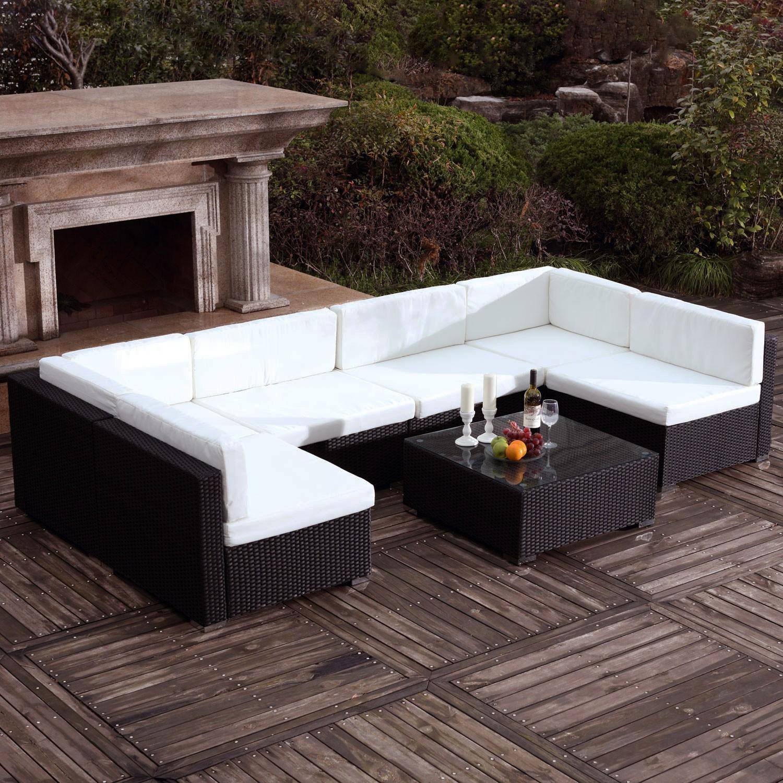 Saeï Noir/blanc : Grand Salon De Jardin En Résine Tressée 6 Personnes encequiconcerne Salon De Jardin 6 Personnes