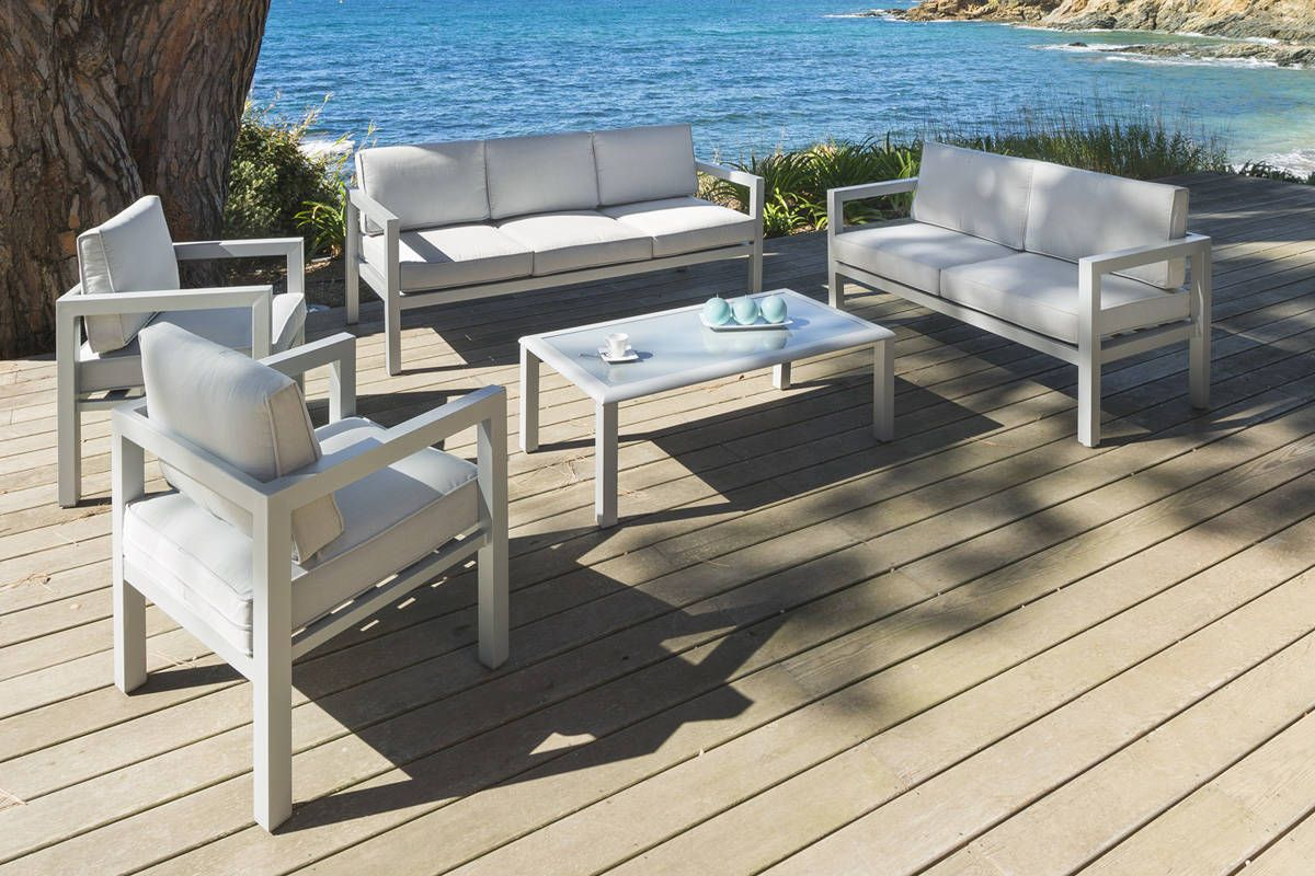 Salon Azua Silver Mat 7 Places - Aluminium - Hespéride ... concernant Salon De Jardin Hesperide En Solde