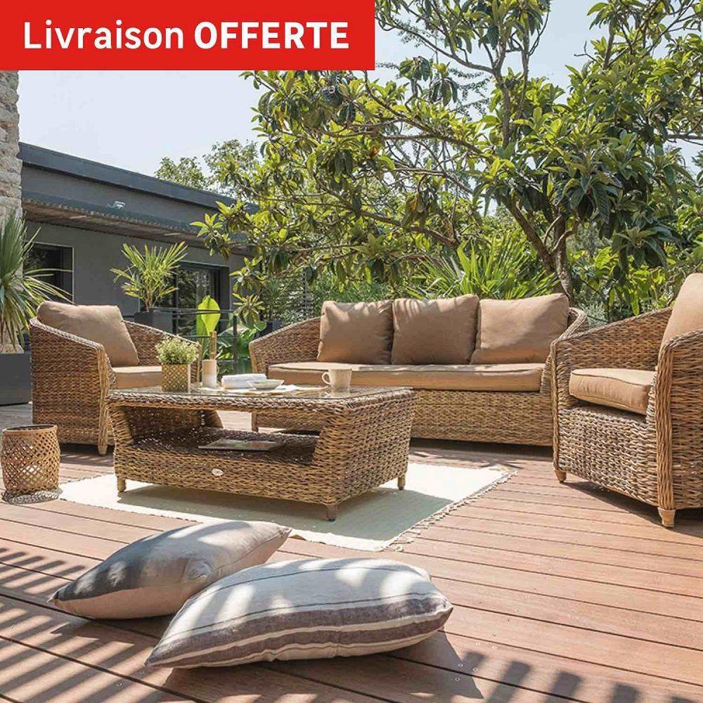 Salon Bas De Jardin Havana Résine Tressée Naturelle - Leroy ... concernant Salon De Jardin Resine Tresse