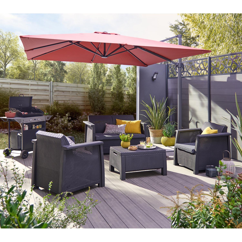 Salon Bas De Jardin Kansas Résine Injectée Gris Anthracite ... serapportantà Salon De Jardin Leroy Merlin Promo