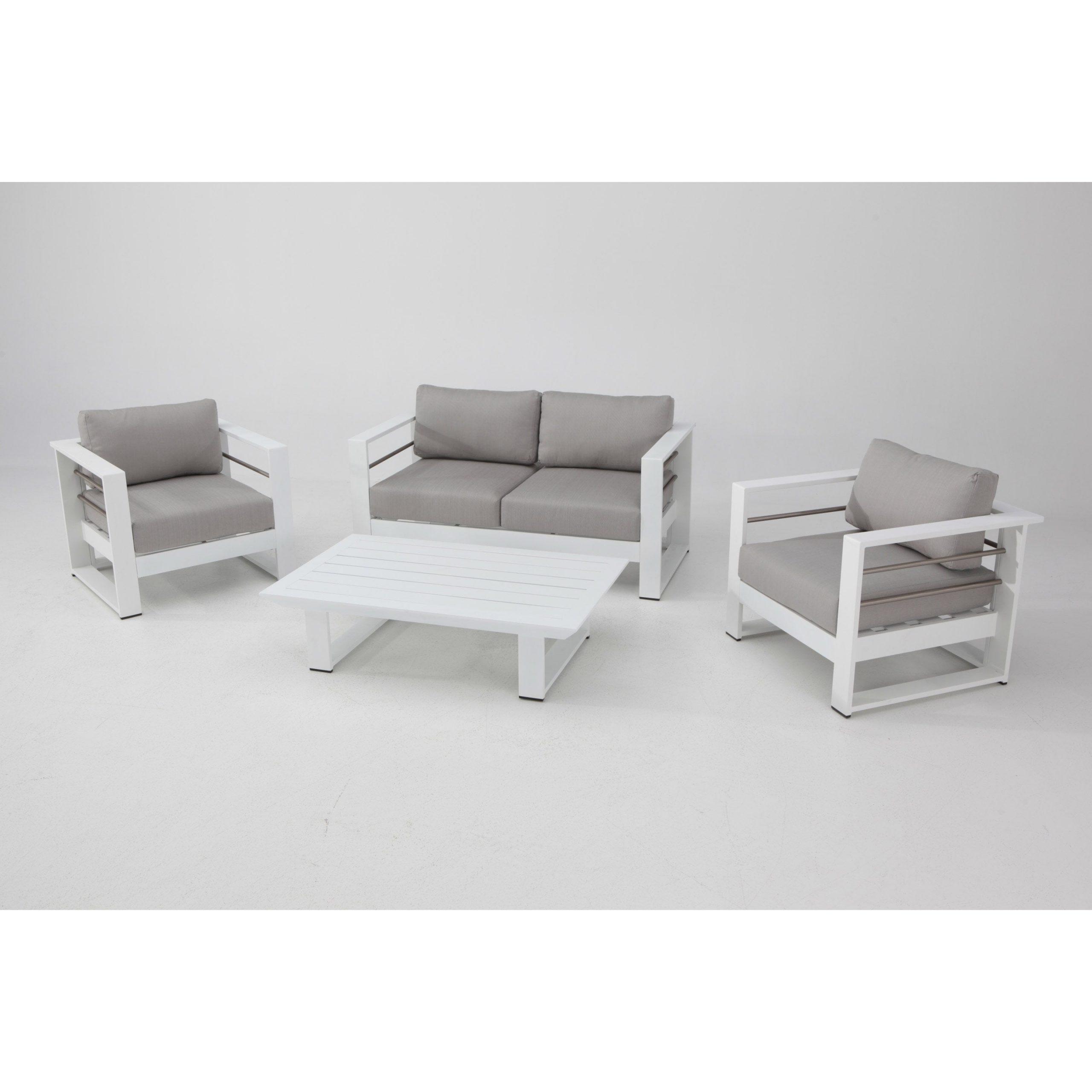 Salon Bas De Jardin Kyra Aluminium Blanc, 4 Personnes ... dedans Salon De Jardin Bas Aluminium