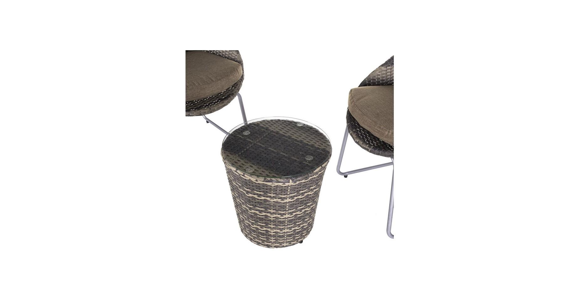 Salon De Jardin 2 Fauteuils + 1 Table D'appoint En Rotin Bicolore Adeline avec Mobilier De Jardin Destockage