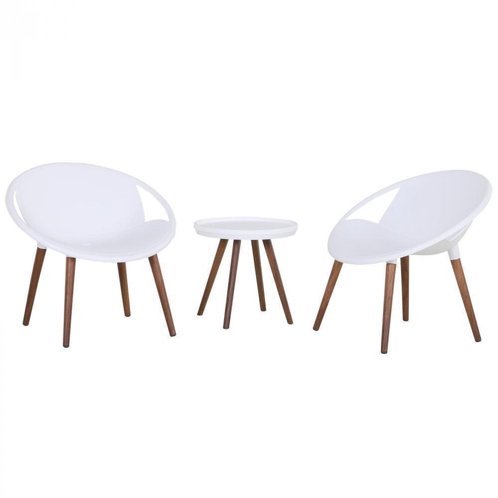 Salon De Jardin 2 Pers. 3 Pièces - Ensemble Bistrot Design Scandinave - 2  Fauteuils Lounge + Table Basse - Pieds Imitation Bois Plastique Pp Blanc concernant Table Basse De Jardin En Plastique