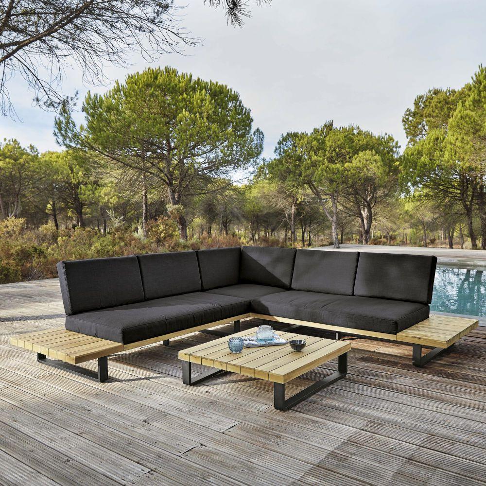 Salon De Jardin 4/5 Places En Aluminium Et Acacia Massif ... encequiconcerne Salon De Jardin Maison Du Monde