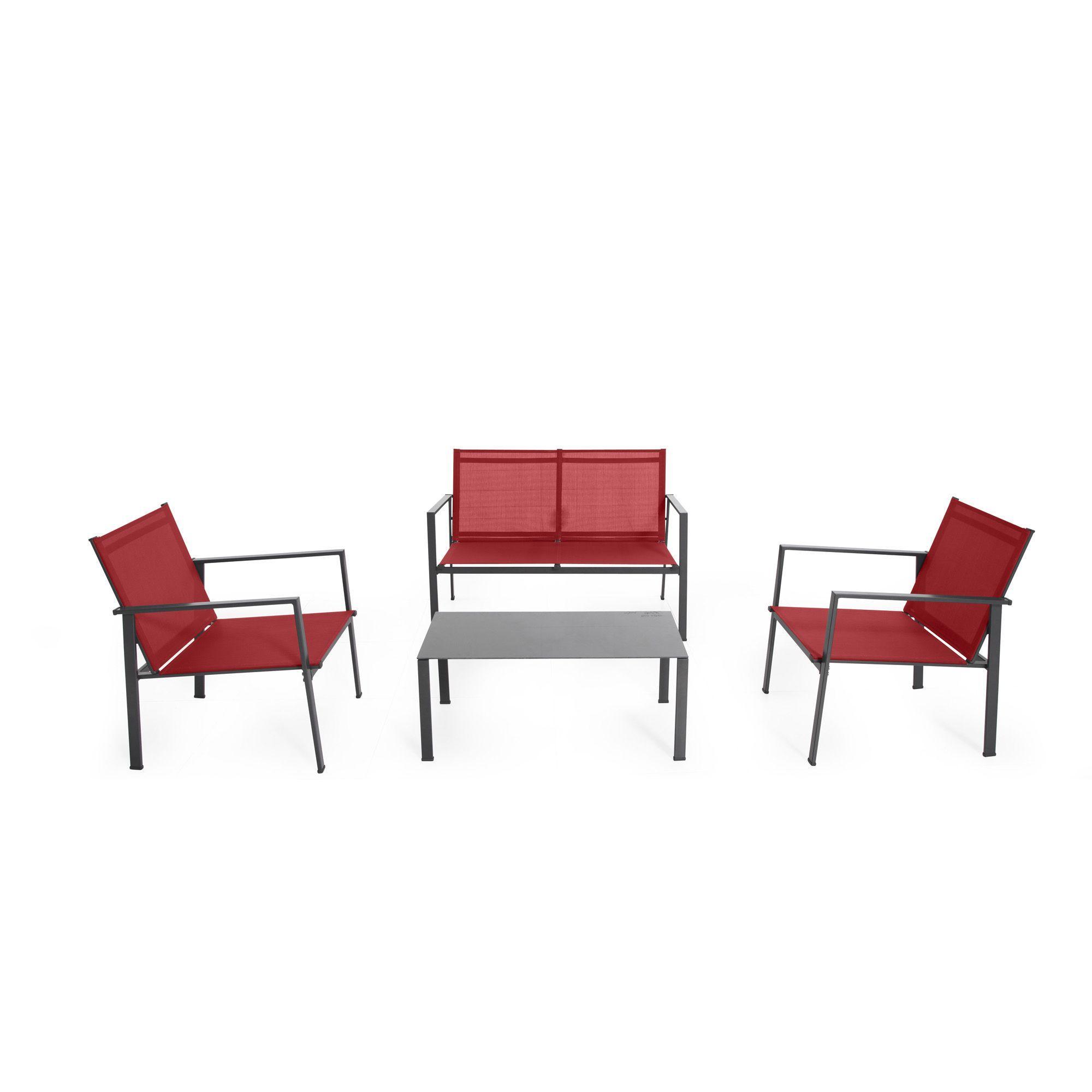 Salon De Jardin 4 Éléments Rouge - Sofia - Les Canapés Et ... tout Salon De Jardin Rouge