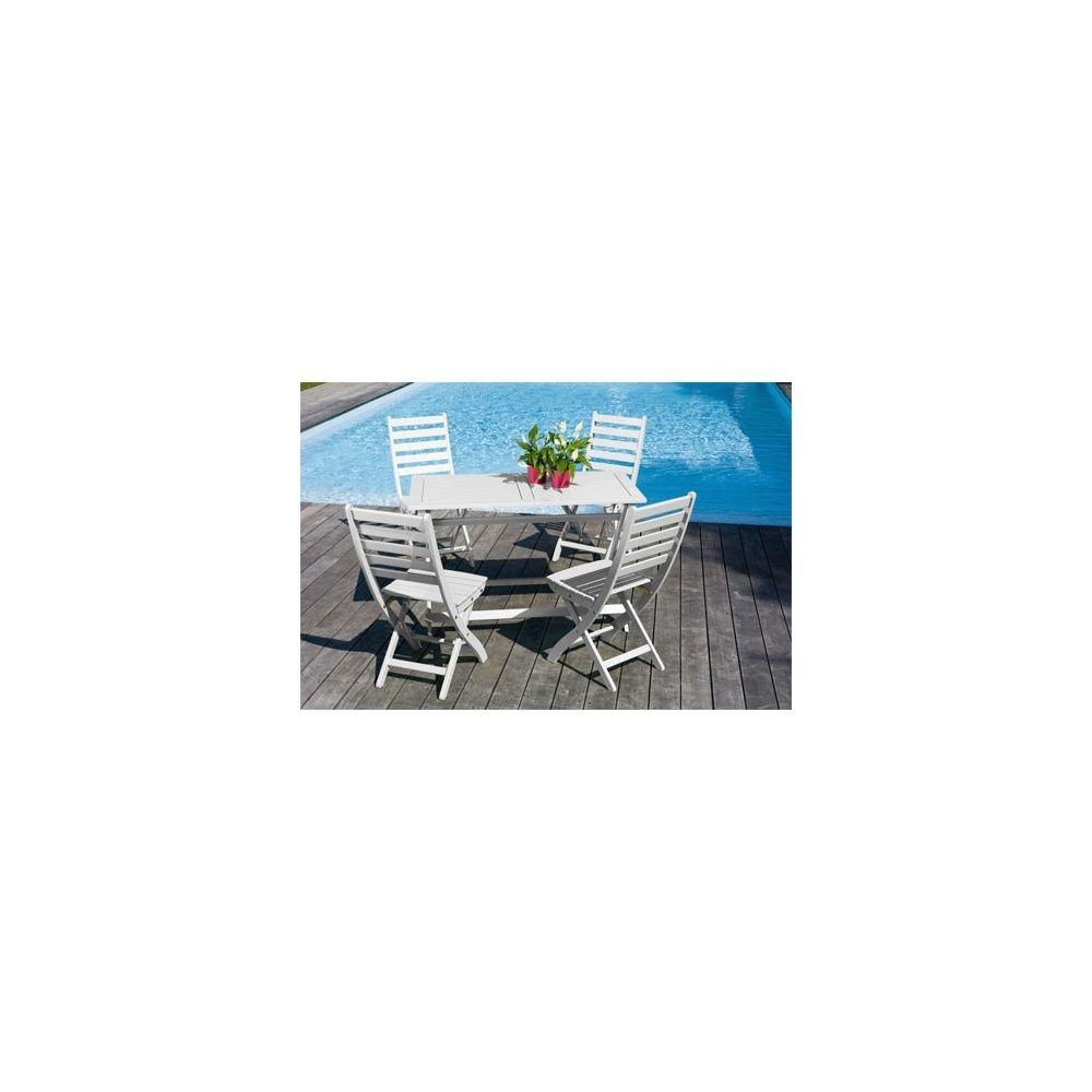 Salon De Jardin 4 Personnes Bois Blanc Table Balcon 120 X 60 Cm à Table Jardin 4 Personnes