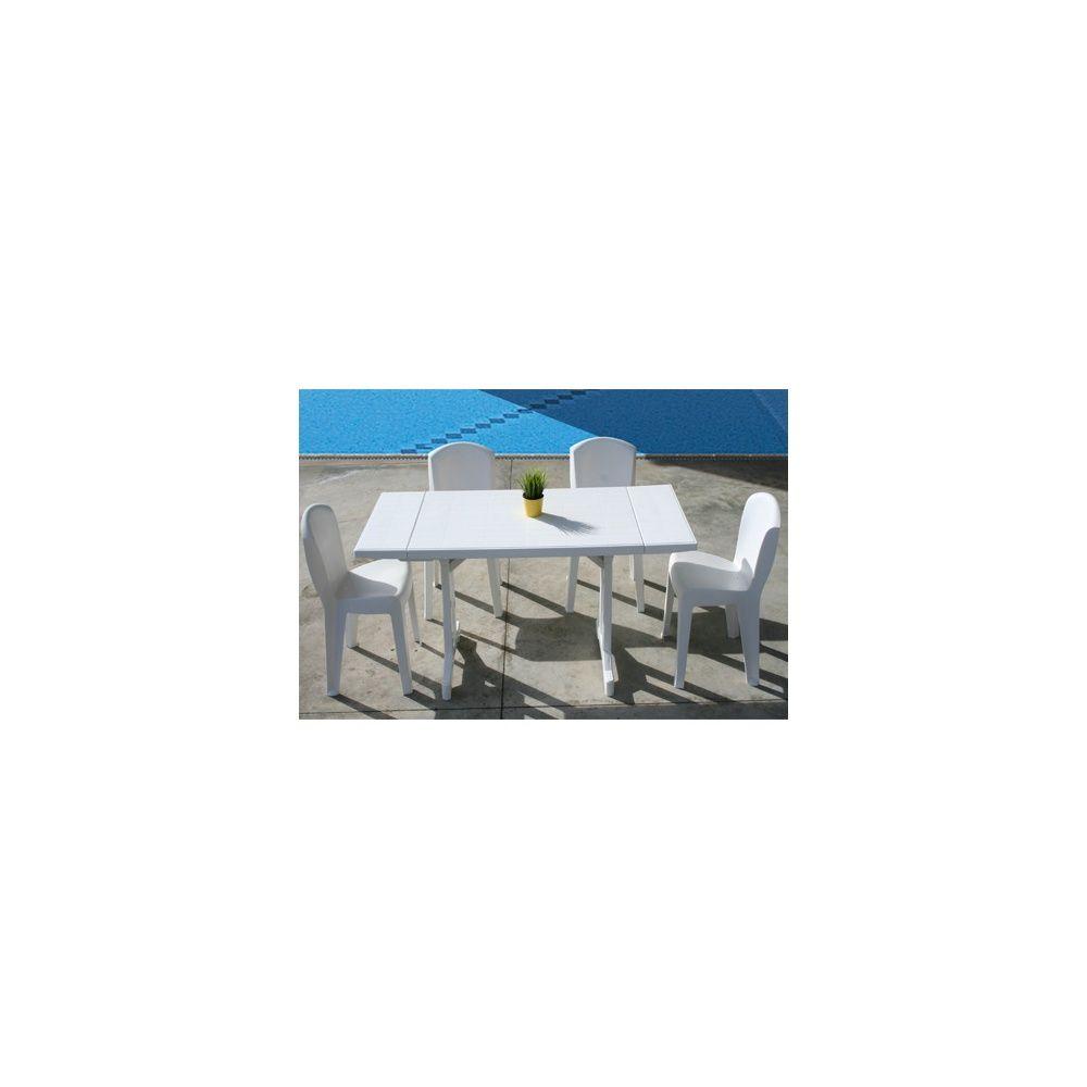 Salon De Jardin 4 Personnes : Table Perfecta Et 4 Chaises Europa - Blanc serapportantà Table Jardin 4 Personnes