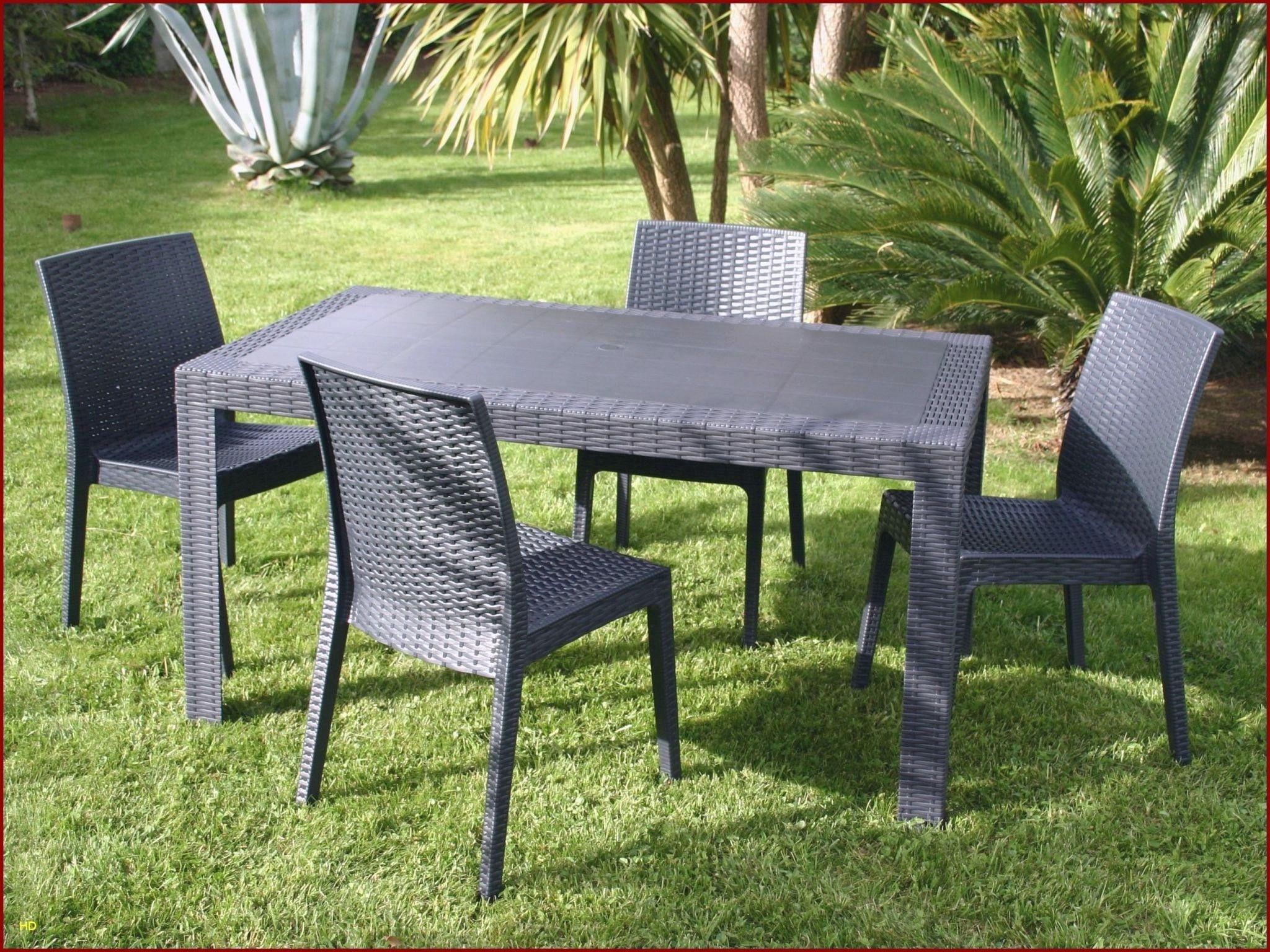 Salon De Jardin 4 Places Design Modern En Resine Injectée En ... tout Table De Jardin Design Pas Cher