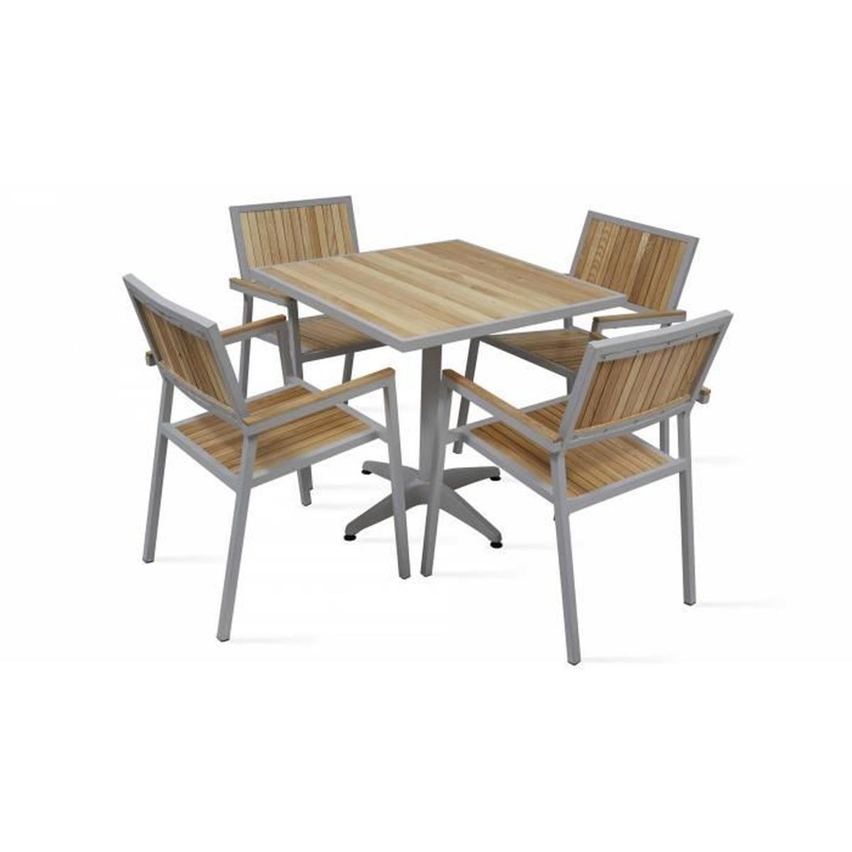 Salon De Jardin 4 Places - Table Carrée Et Chaises En Alu Et ... tout Table Et Chaise De Jardin En Bois