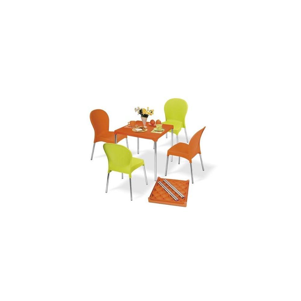 Salon De Jardin 4 Places Warhol: Table En Aluminium Et Pvc + 4 Chaises -  Orange Et Vert Anis serapportantà Gamm Vert Salon De Jardin
