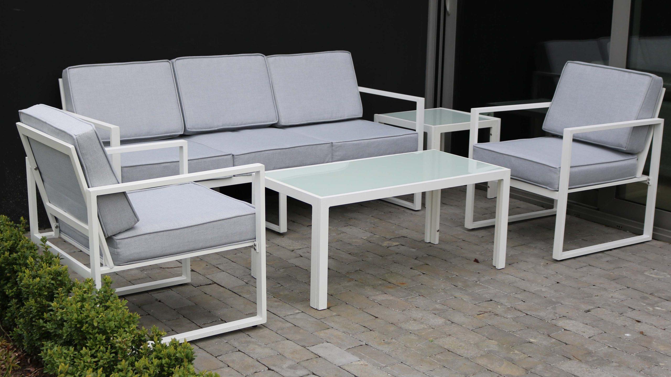 Salon De Jardin 5 Places En Aluminium | Oviala à Salon De Jardin Aluminium Blanc