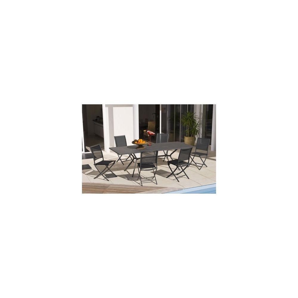 Salon De Jardin 6 Personnes Anthracite En Acier Et Textilène Table 180/240  + 6 Chaises destiné Table Jardin 6 Personnes