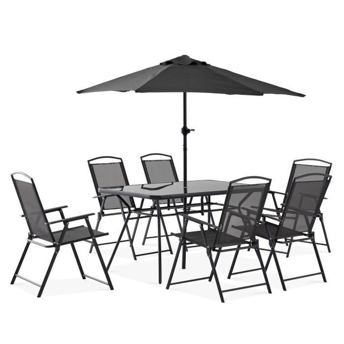 Salon De Jardin 6 Personnes concernant Table Et Chaises De Jardin Pas Cher