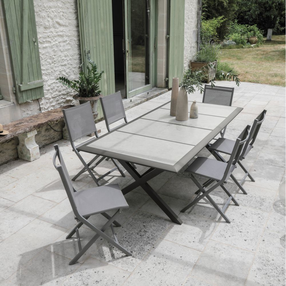 Salon De Jardin 6 Personnes En Aluminium Et Céramique avec Table Jardin 6 Personnes