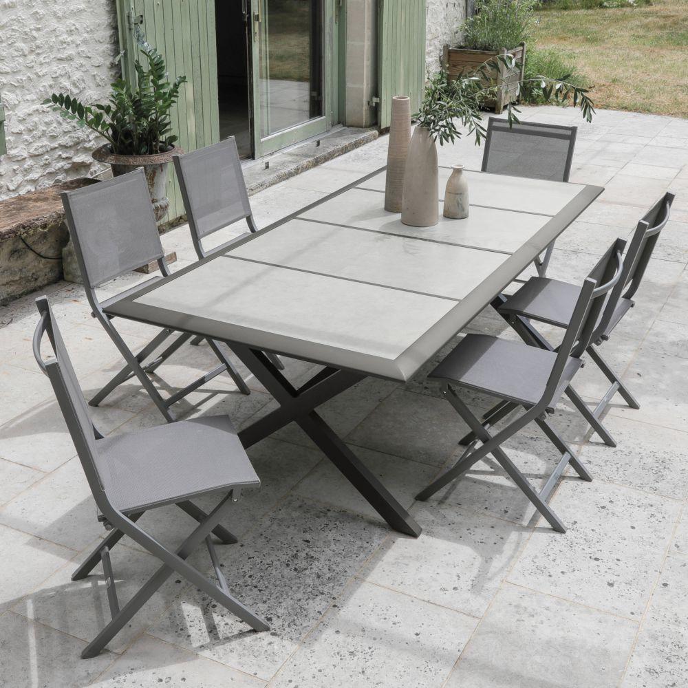 Salon De Jardin 6 Personnes En Aluminium Et Céramique pour Table Jardin Ceramique