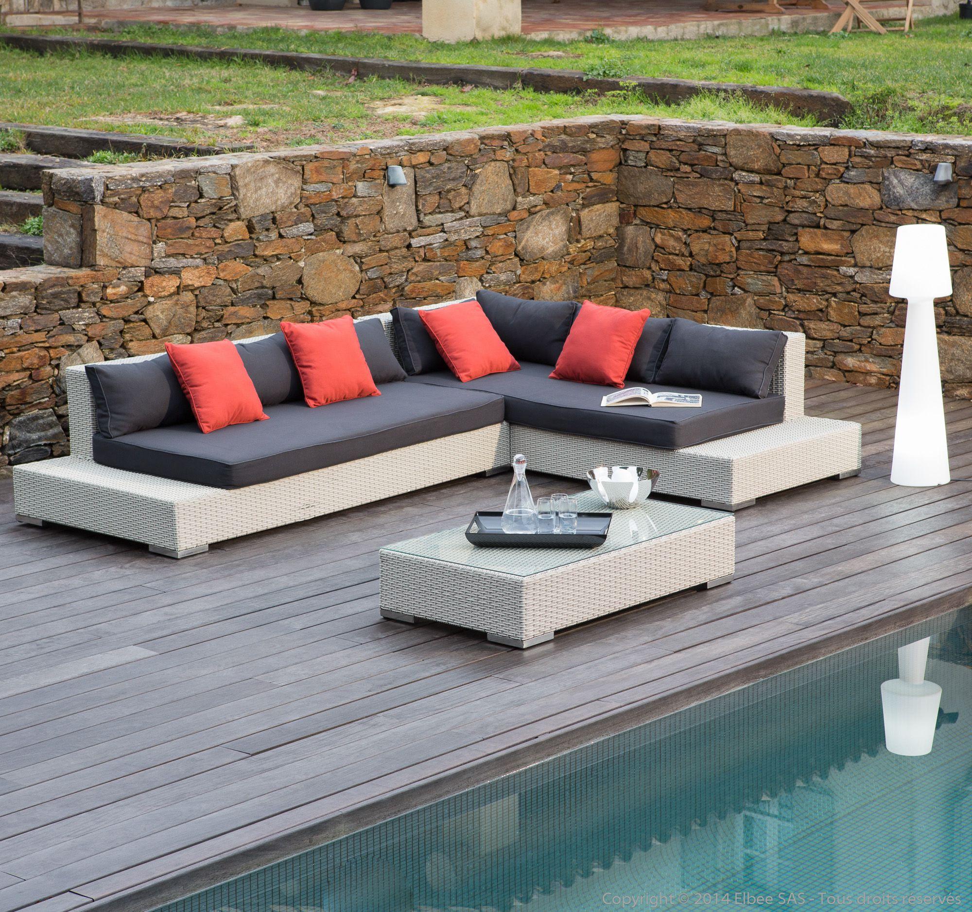 Salon De Jardin 6 Places : Canapé D'angle + Table Basse En ... concernant Salon De Jardin En Resine Tressee 6 Places