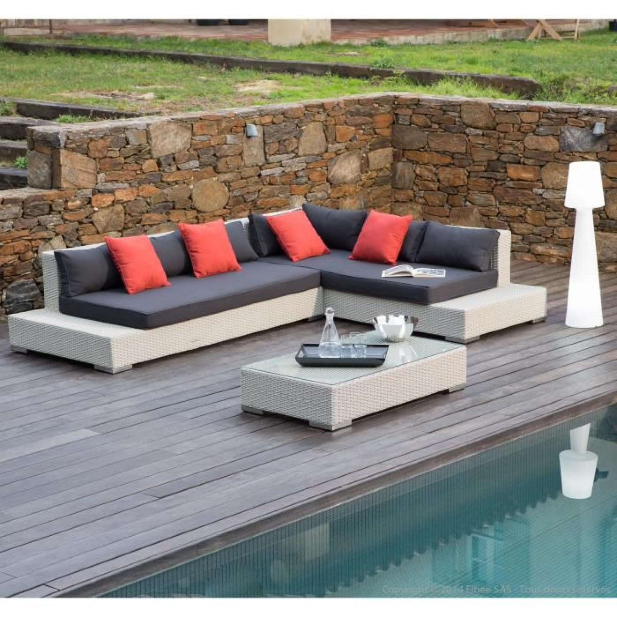 Salon De Jardin 6 Places : Canapé D'angle + Table Basse En Résine Tressée  Asella- serapportantà Canapé D Angle De Jardin