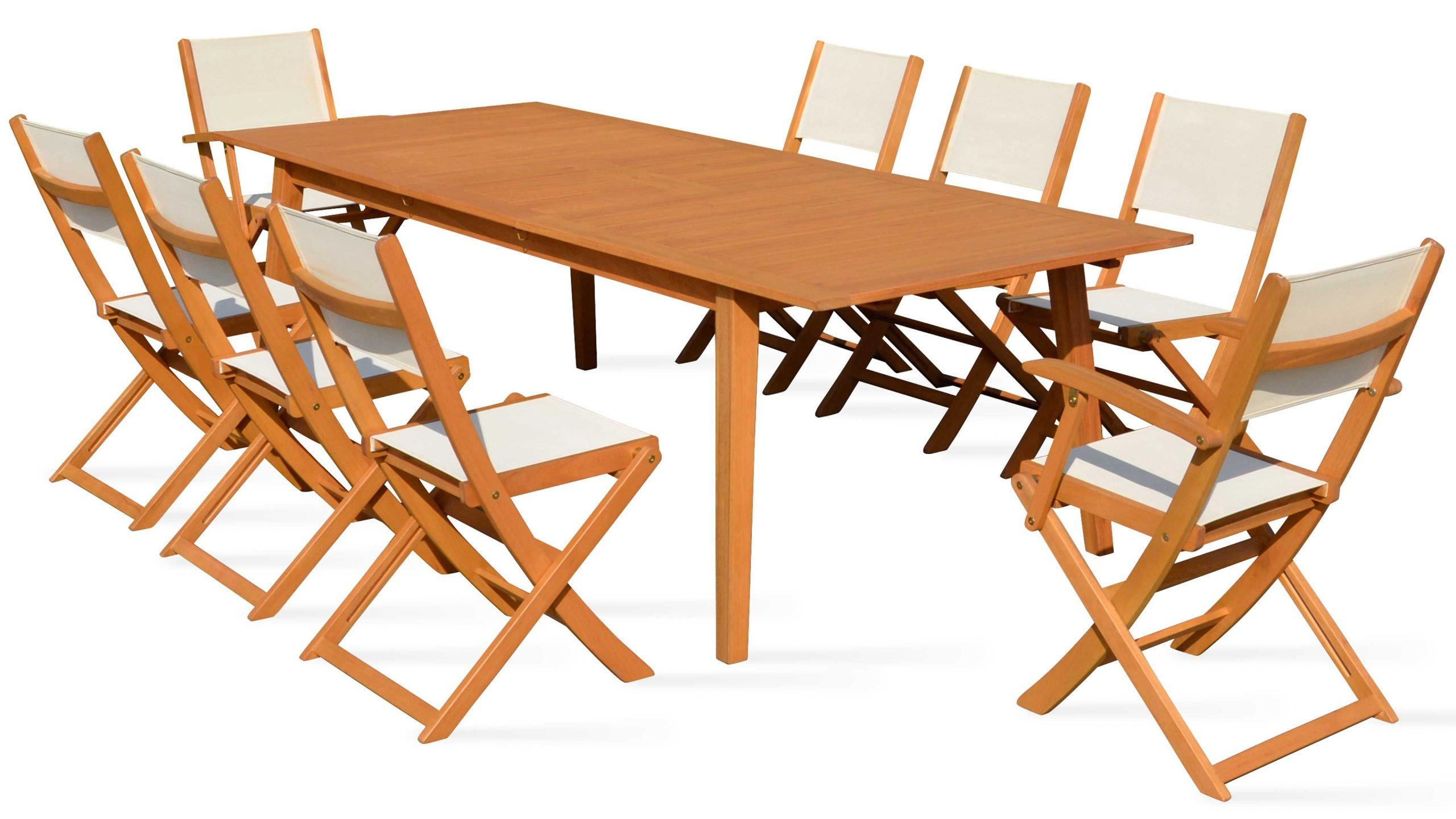 Salon De Jardin 8 Places En Bois Table Et Chaise avec Table Et Chaise De Jardin En Bois