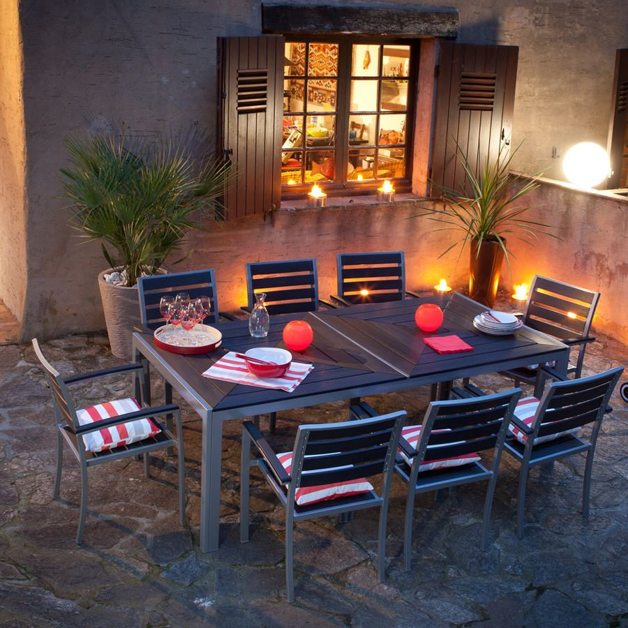 Salon De Jardin 8 Places Lamia Squareline - Salon De Jardin ... tout Salon De Jardin Aluminium Et Composite