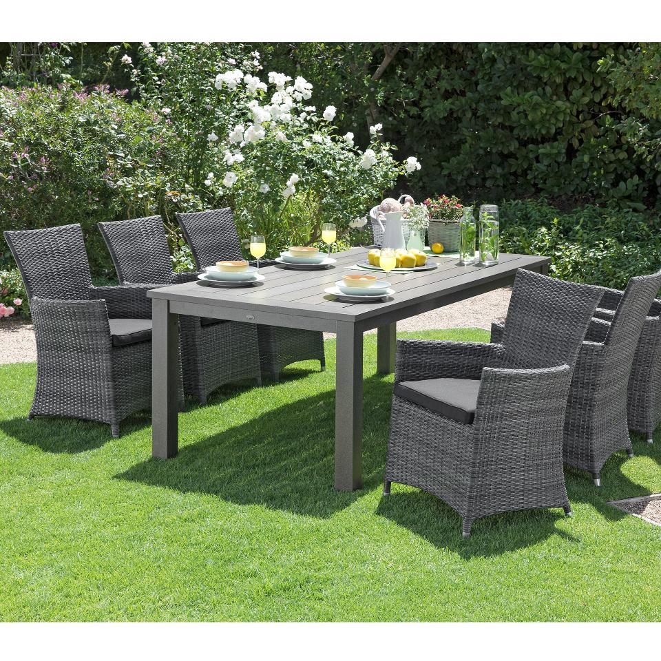 Salon De Jardin «Alexis/kansas» (1 Table, 6 Fauteuils Confort Kansas) concernant Salon De Jardin Confortable