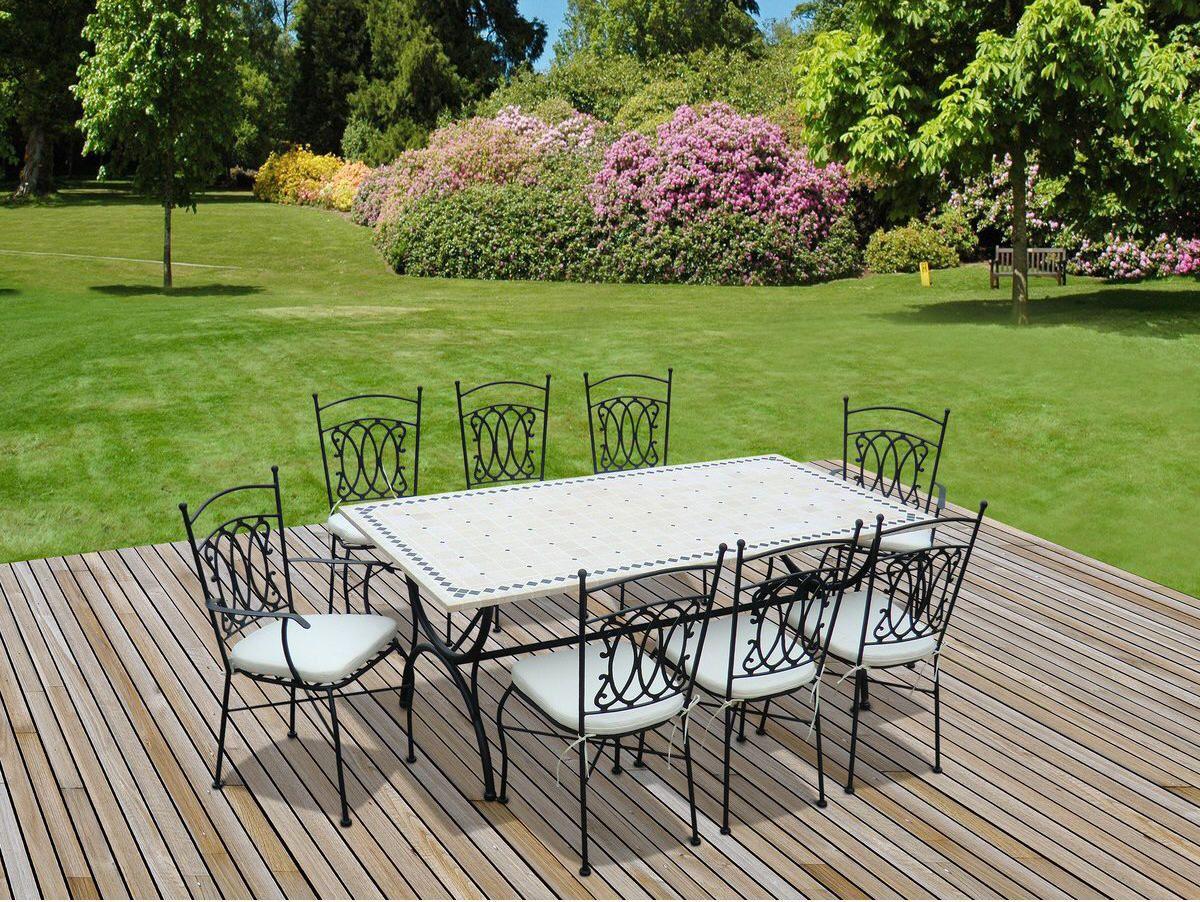 Salon De Jardin Alice S Garden Table 200Cm 8 Places - Salon ... dedans Table De Jardin En Fer Forgé Pas Cher