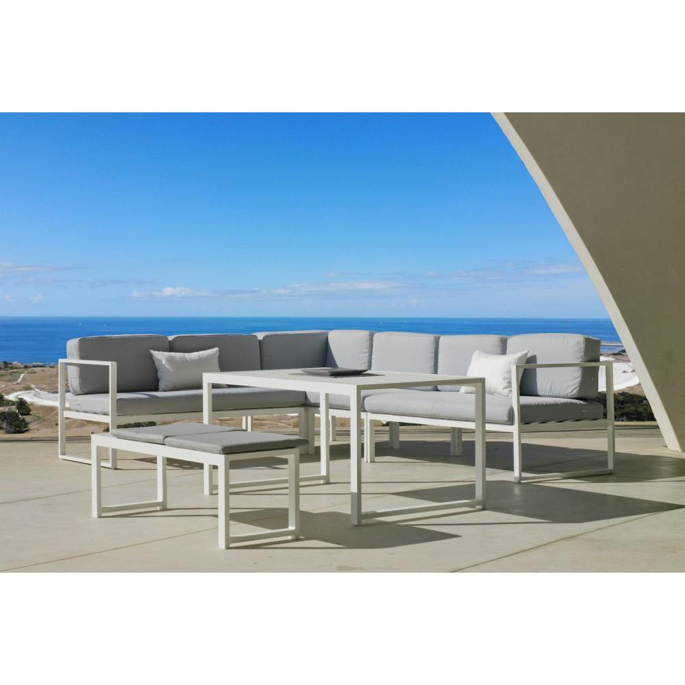 Salon De Jardin Aluminium Blanc - Coussins Gris Clair - Anaele 9 Indoor  Outdoor Sur Bricozor à Salon De Jardin Aluminium Blanc