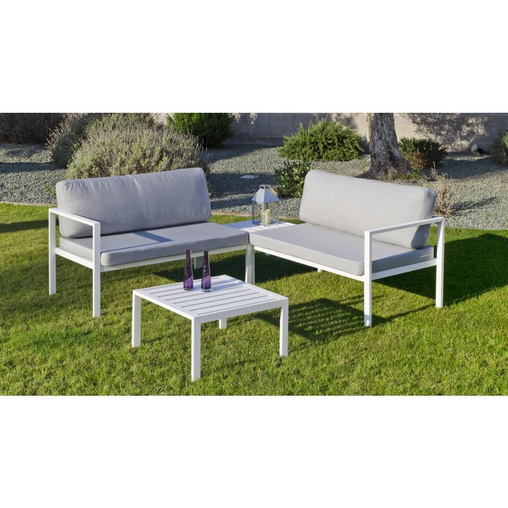 Salon De Jardin - Aluminium Blanc - Coussins Gris Clair - Andgelina Indoor  Outdoor Sur Bricozor concernant Salon De Jardin Aluminium Blanc