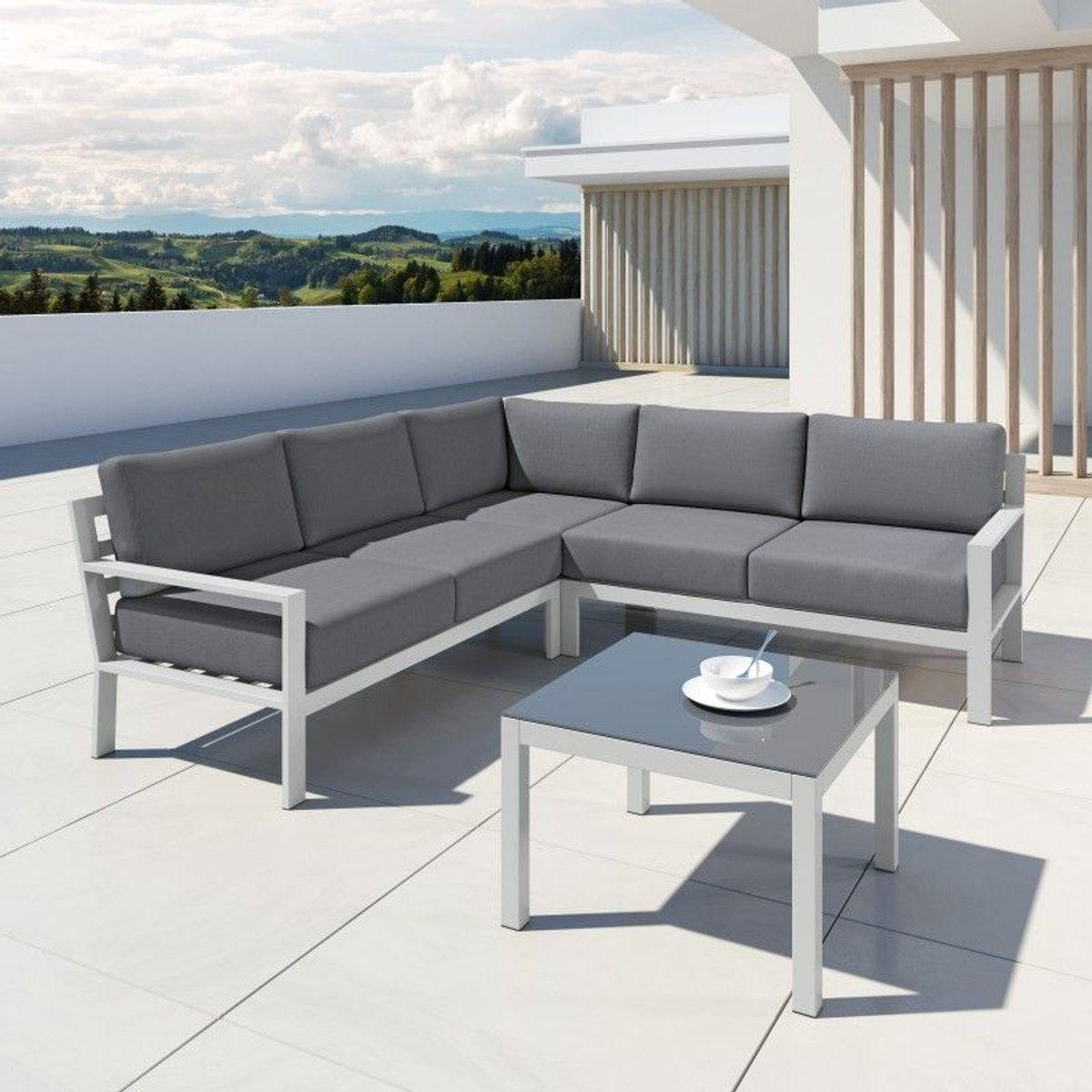 Salon De Jardin Aluminium Design, Mio | Salon De Jardin ... pour Salon De Jardin Aluminium Blanc