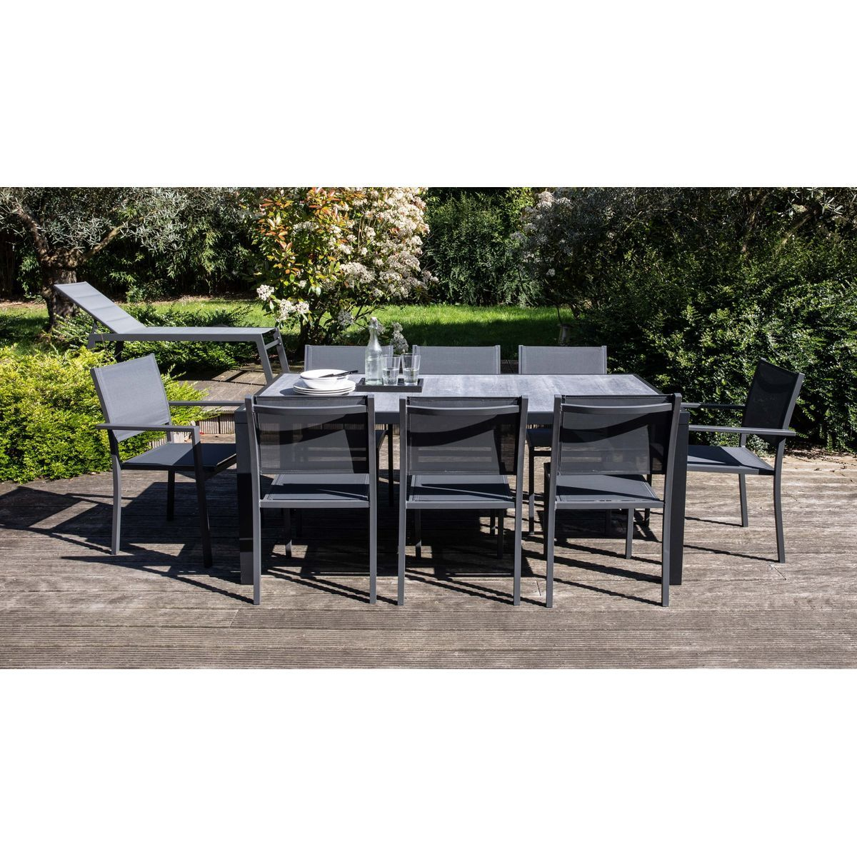 Salon De Jardin Aluminium Et Céramique, 1 Table, 6 Chaises ... concernant Table Céramique Jardin