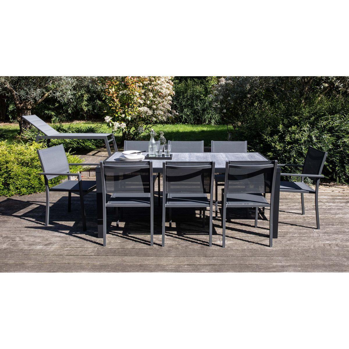 Salon De Jardin Aluminium Et Céramique, 1 Table, 6 Chaises ... intérieur Table Jardin Ceramique