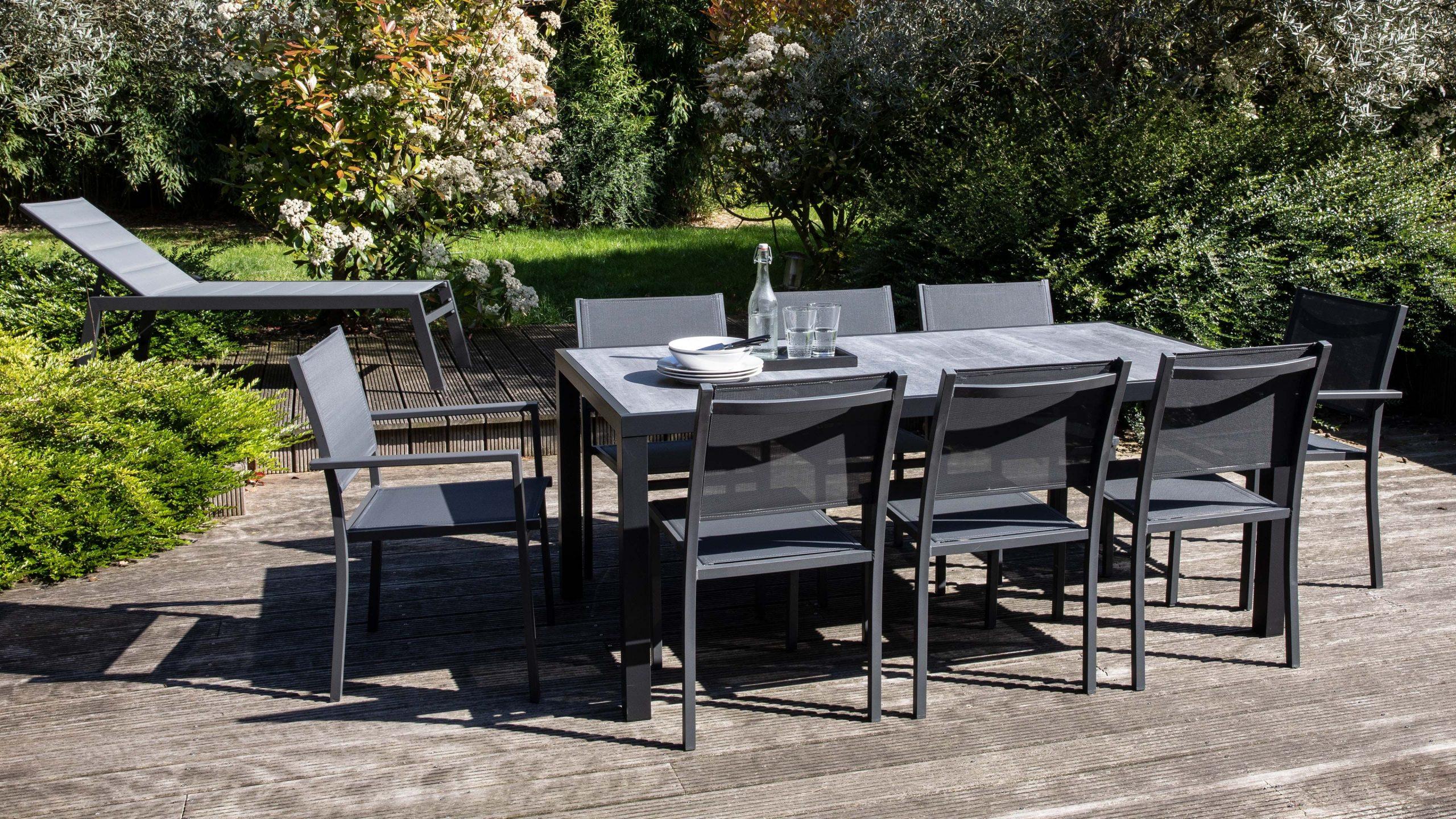 Salon De Jardin Aluminium Et Céramique 8 Places tout Table De Jardin En Carrelage