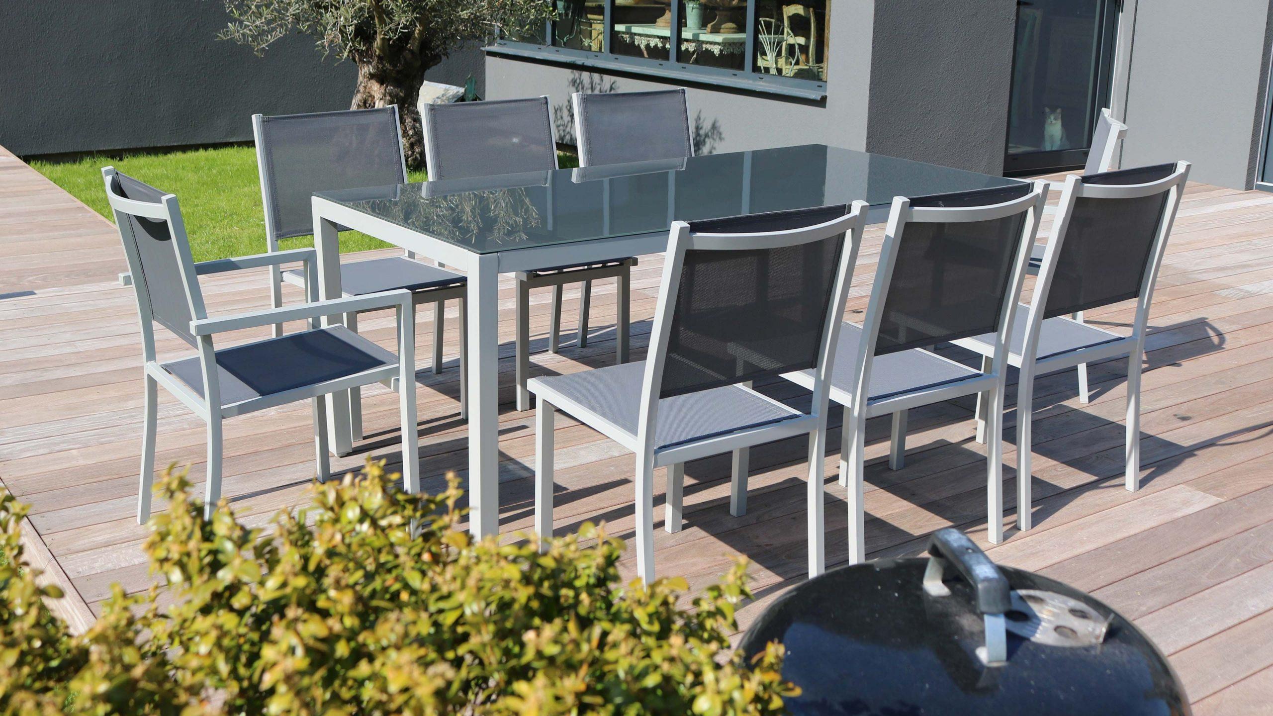 Salon De Jardin Aluminium Table De Jardin 8 Places avec Salon De Jardin Verre Trempé