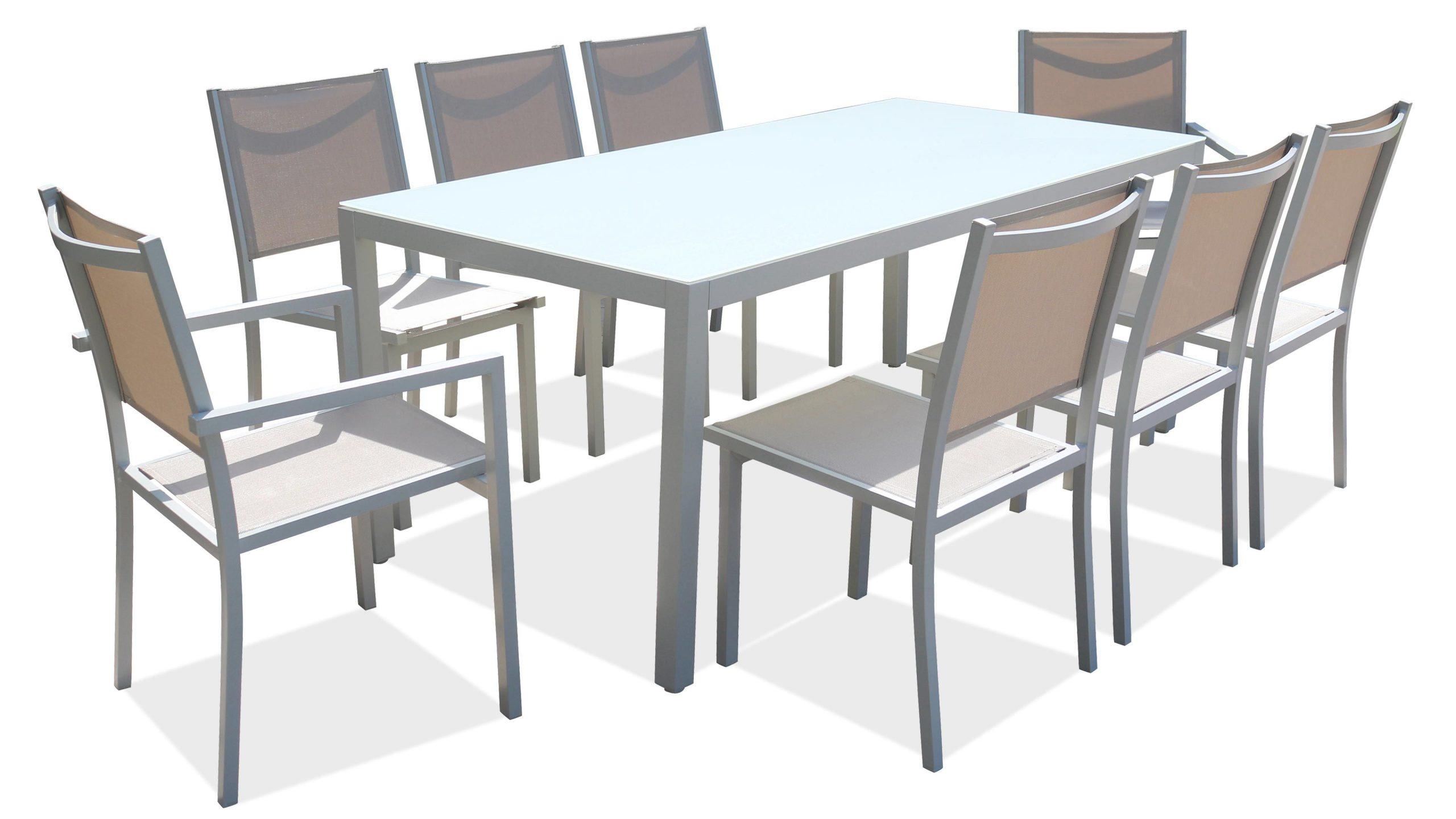 Salon De Jardin Aluminium Table De Jardin 8 Places avec Table De Jardin Aluminium Et Verre