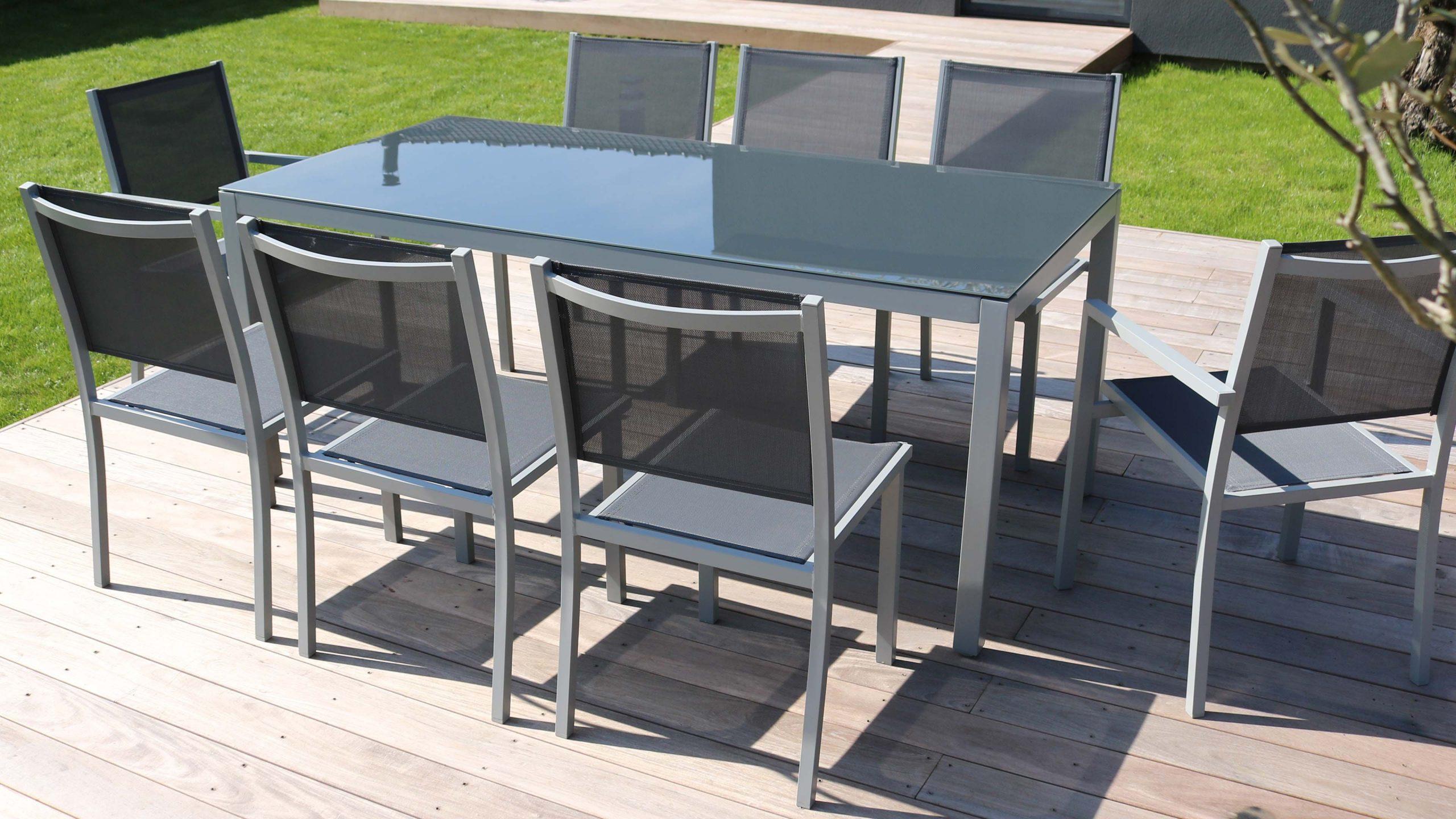 Salon De Jardin Aluminium Table De Jardin 8 Places avec Table De Jardin En Alu