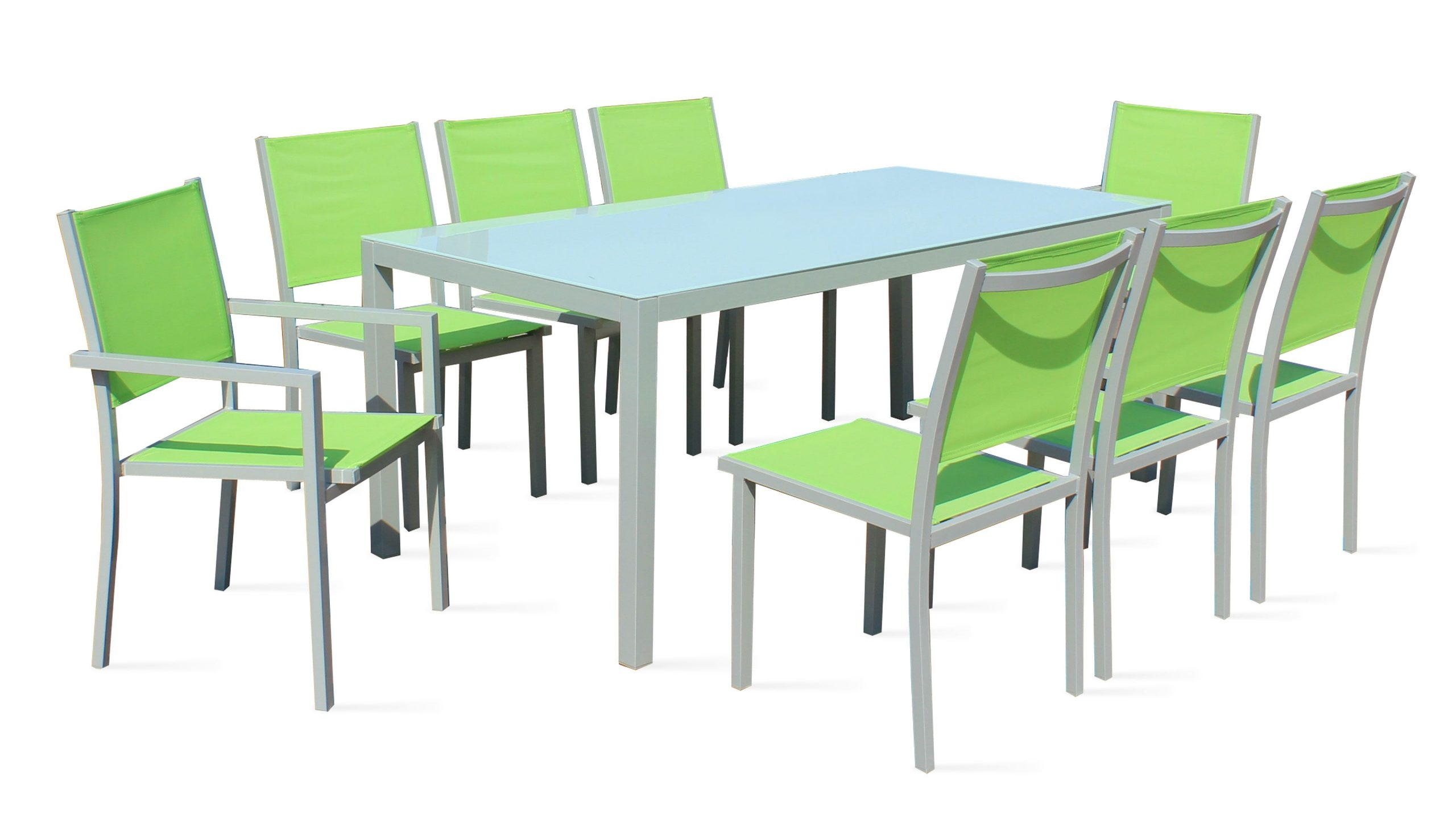 Salon De Jardin Aluminium Table De Jardin 8 Places concernant Salon De Jardin Verre Trempé